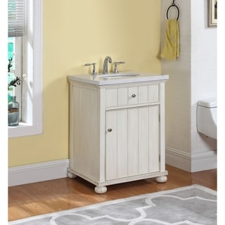 Hampton Bath Vanity in Distressed White with Grey and White Marble Top