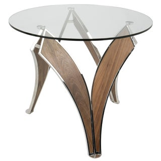 LumiSource Prestige Stainless Steel/Walnut Contemporary Dining Table