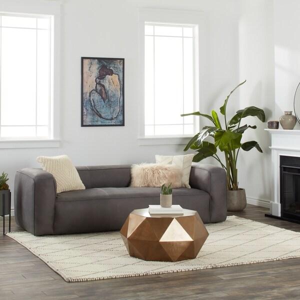Stones Stripes Diva Italian Leather Sofa Utah Smoke Grey