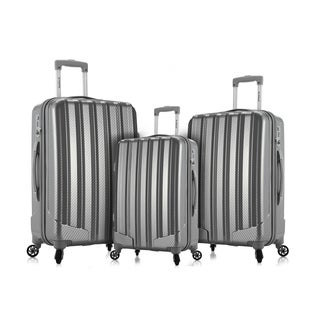 Rockland Metallic 3-Piece Hardside Spinner Upright Luggage Set