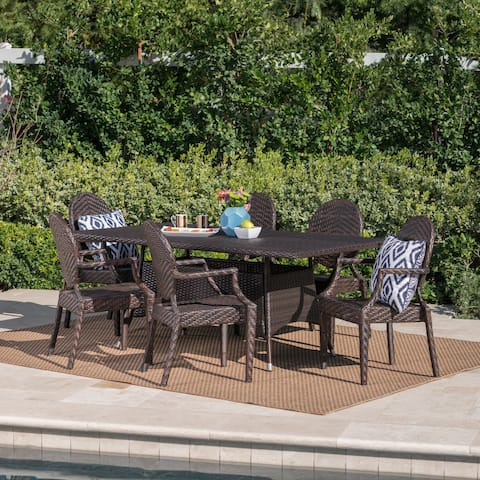 Folsom Outdoor 7-piece Rectangle Wicker Dining Set by Christopher Knight Home