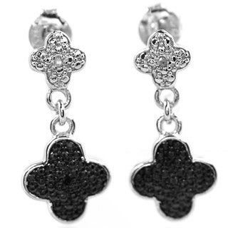 De Buman Sterling Silver Black Diamond Solid Earrings