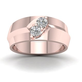 De Couer 1/2ct TDW Diamond Men's Exquisite Wedding Band - Pink