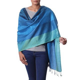 Handcrafted Silk 'Ocean Glamour' Shawl (India)