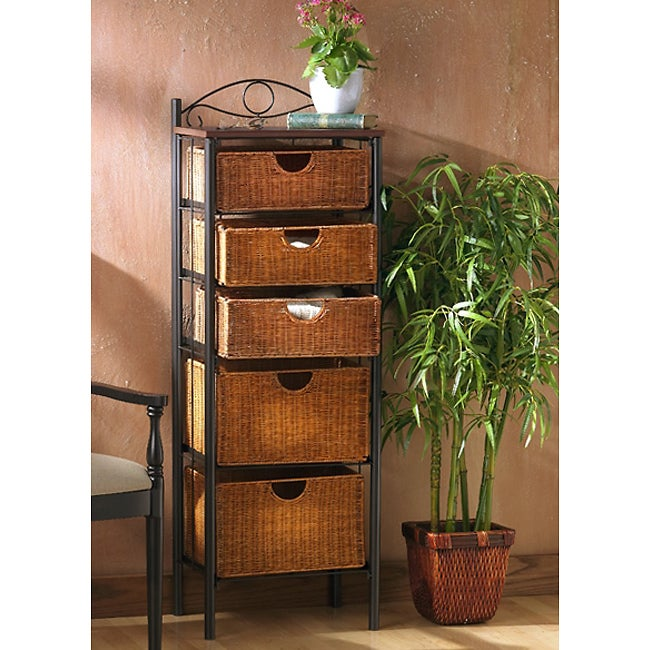 The Curated Nomad Belize Wicker 5-drawer Storage Unit