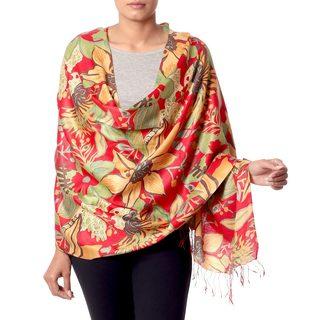 Handcrafted Rayon Silk 'Kashmir Blossom' Shawl (India)