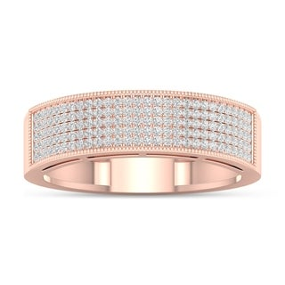 De Couer 3/8ct TDW Diamond Men's Exquisite Wedding Band - Pink