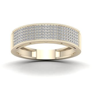 De Couer 3/8ct TDW Diamond Men's Exquisite Wedding Band - Yellow|https://ak1.ostkcdn.com/images/products/16154223/P22530539.jpg?impolicy=medium