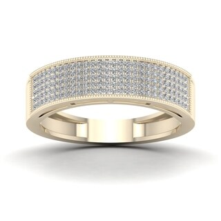 De Couer IGI Certified 3/8ct TDW Diamond Men's Exquisite Wedding Band - Yellow