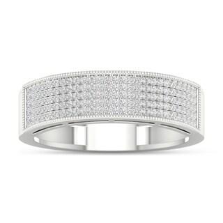 De Couer 3/8ct TDW Diamond Men's Exquisite Wedding Band - White