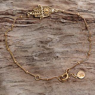 Handcrafted Gold Overlay Sterling Silver 'Gold Hamsa' Bracelet (Indonesia)