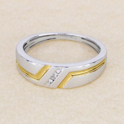 Sterling Silver 1/20ct TDW Diamond Men's Ring (H-I, I2) - White