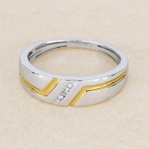 Sterling Silver 1/20ct TDW Diamond Men's Ring (H-I, I2)