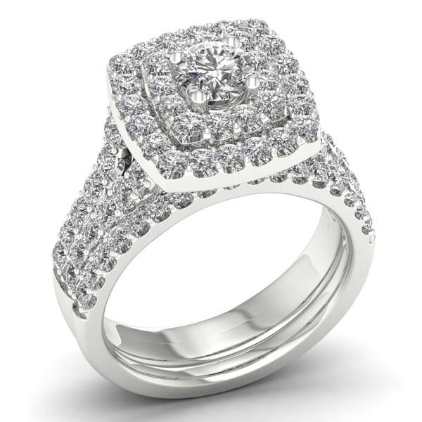 De Couer 2ct TDW Diamond Double Halo Bridal Set (H-I, I2) - White
