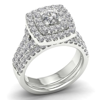 De Couer 2ct TDW Diamond Double Halo Bridal Set (H-I, I2)