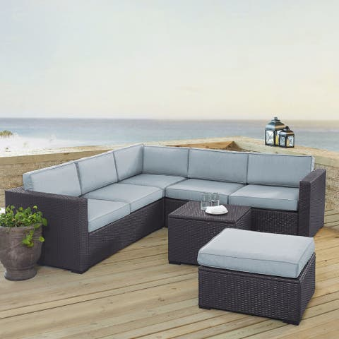 Biscayne Brown Wicker 5-piece Outdoor Wicker Seating Set with Mist Cushions
