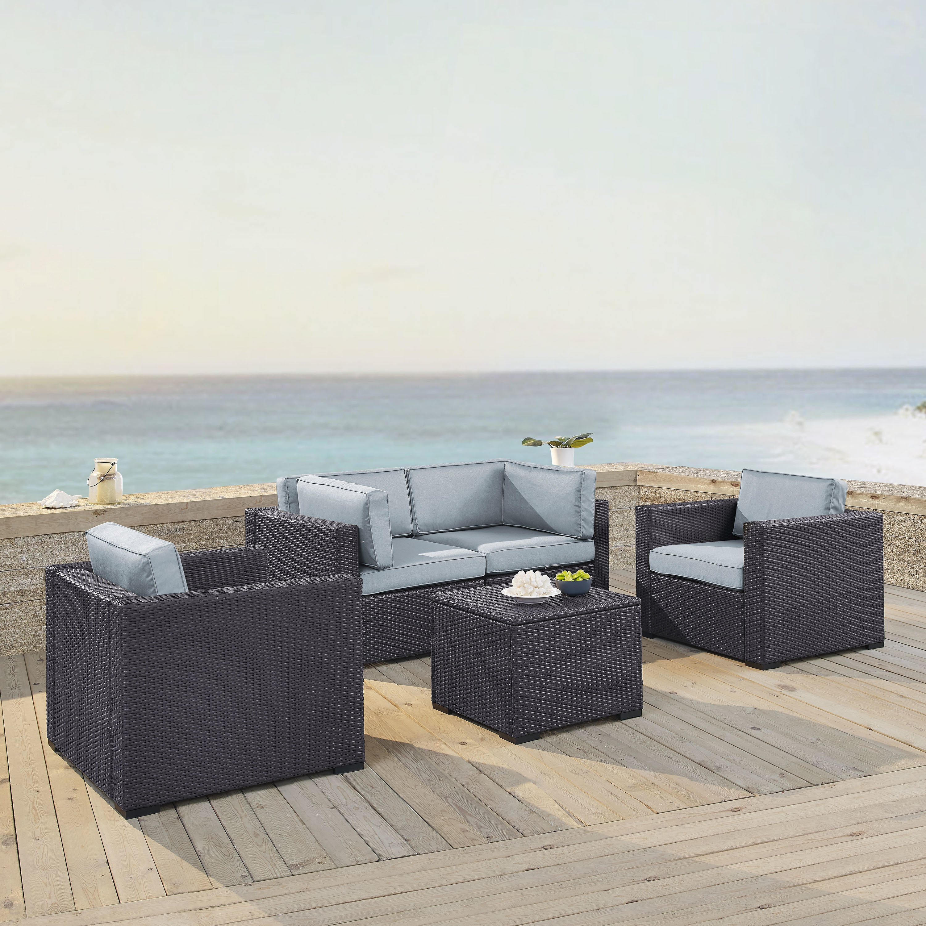 Crosley Furniture Biscayne Outdoor Wicker Mist Seating Se.