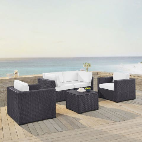 Biscayne 5-piece White Wicker Outdoor Seating Set of Two Armchairs, Two Corner Chairs, and Coffee Table