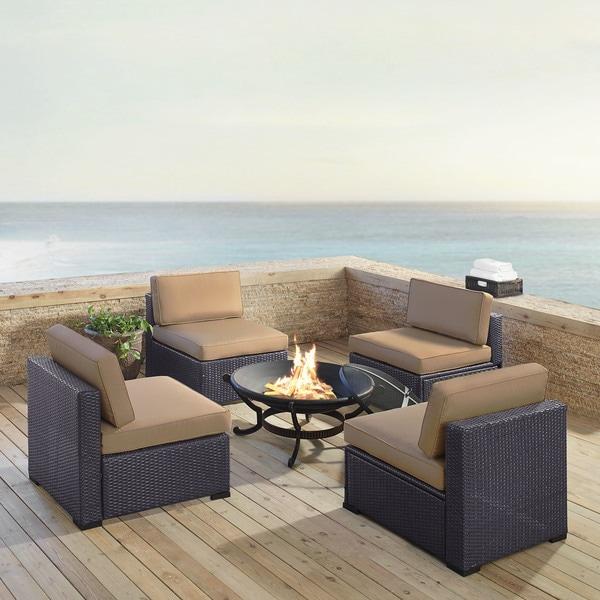 Shop Biscayne 5-piece Mist Wicker Outdoor Seating Set of ... on Safavieh Outdoor Living Granton 5 Pc Living Set id=98709