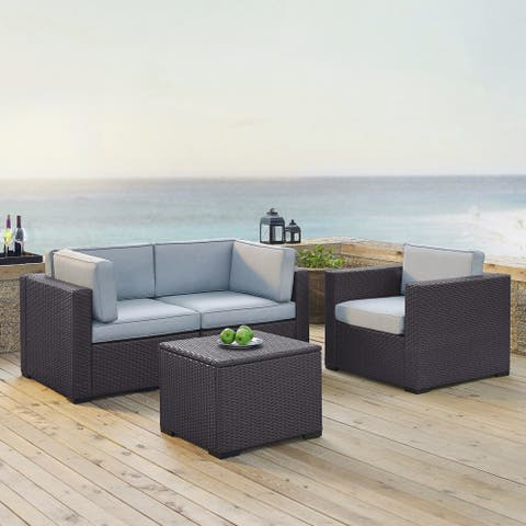 Biscayne Brown Wicker/Steel 4-piece Outdoor Seating Set