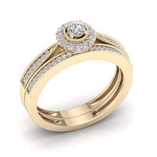 De Couer 1/3ct TDW Diamond Halo Bridal Set - Yellow