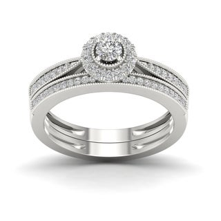De Couer 1/3ct TDW Diamond Halo Bridal Set - White