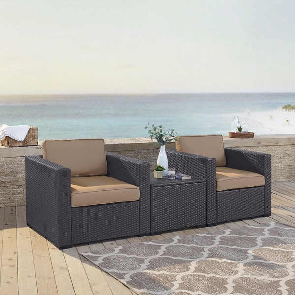 Crosley Furniture Biscayne Mocha Wicker/Steel 3 Piece Seating Set With 2 Outdoor  Chairs