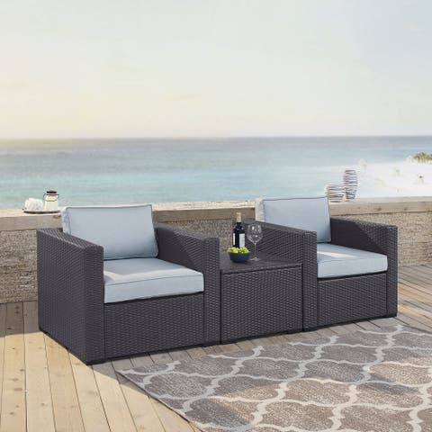 Biscayne Brown Wicker 3-piece Seating Set with Mist Cushions