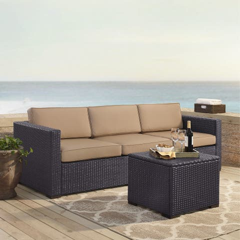 Biscayne Wicker 3-piece Outdoor Seating Set with Mocha Cushions
