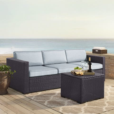 Biscayne Mist Brown Wicker 3-piece Outdoor Seating Set With Loveseat, Corner Chair, and Coffee Table
