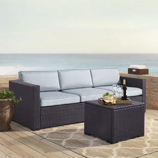 Link to Biscayne Mist Brown Wicker 3-piece Outdoor Seating Set With Loveseat, Corner Chair, and Coffee Table Similar Items in Outdoor Sofas, Chairs & Sectionals