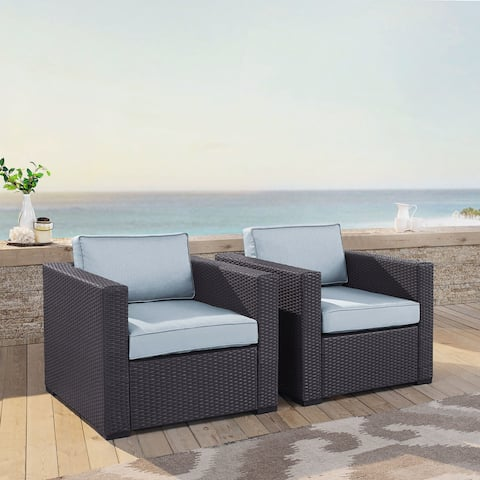 Biscayne Mist Wicker Outdoor Seating Chairs (Set of 2)