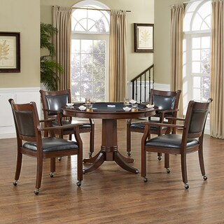 REYNOLDS 5 PIECE GAME TABLE SET IN RUSTIC MAHOGANY