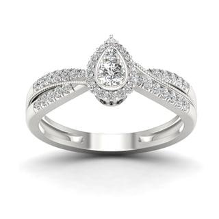 De Couer 1/3ct TDW Diamond Pear Shape Halo Engagement Ring - White