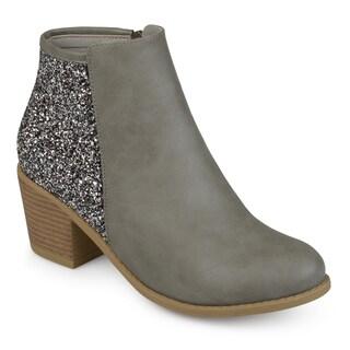 Journee Collection Women's 'Noble' Glitter Wood Stacked Heel Booties