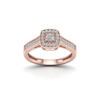 De Couer 1/3ct TDW Diamond Square Shape Halo Engagement Ring - Pink