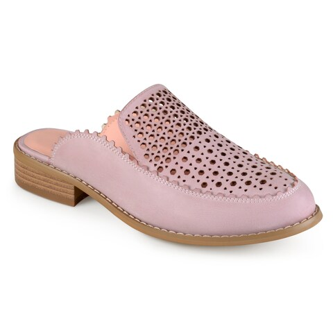 Journee Collection Women's 'Akeela' Laser Cut Faux Leather Slide-on Mules