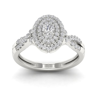 De Couer 1/2ct TDW Diamond Oval Shape Halo Engagement Ring - White