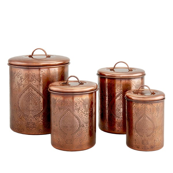 Tangier antique copper etched canisters set of 4 free for Kitchen canisters set 4