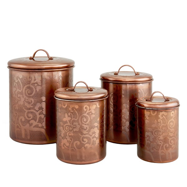 Avignon Antique Copper Etched Canister - Set of 4