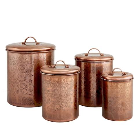 Avignon Antique Copper Etched Canister - Set of 4