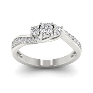 De Couer 1/2ct TDW Diamond Three Stone Bypass Ring - White