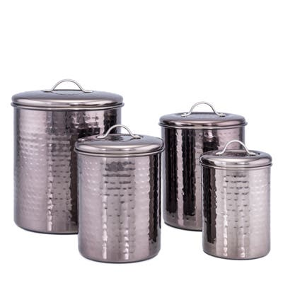 Black Pearl Hammered Canister 4-Piece set w/Fresh Seal Covers