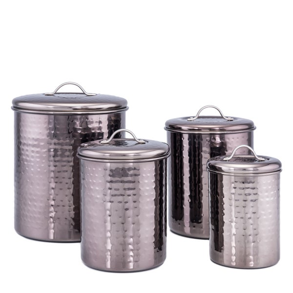 Black Pearl Hammered Canister 4-Piece set w/Fresh Seal Covers. Opens flyout.