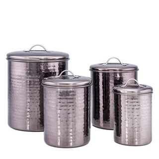 4 Pc. Black Pearl Hammered Canister set w/Fresh Seal Covers