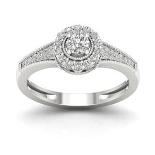 De Couer 1/3ct TDW Diamond Halo Ring (H-I, I2) - White