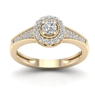 De Couer 1/3ct TDW Diamond Halo Ring - Yellow