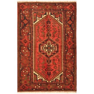 Herat Oriental Persian Hand-knotted Tribal Balouchi Wool Rug (4'4 x 6'6)