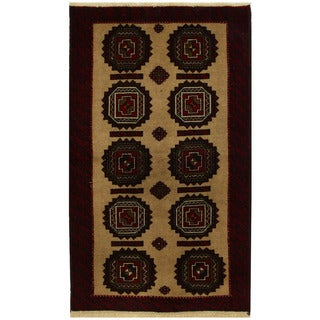 Herat Oriental Persian Hand-knotted Tribal Balouchi Wool Rug (3'6 x 6'2)