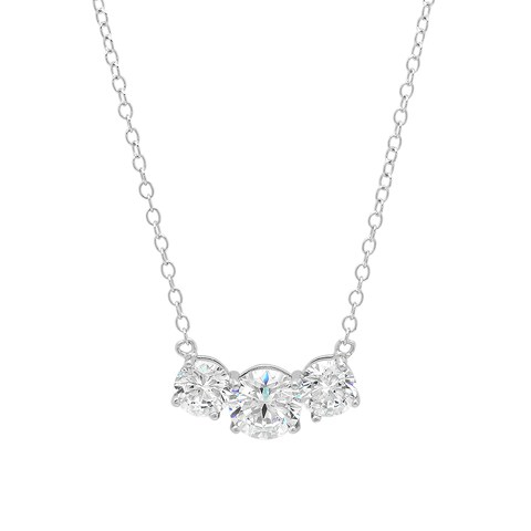 Marabela Sterling Silver Cubic Zirconia 3-Stone Pendant Necklace with Extender